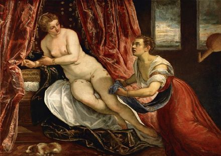 Tintoretto, Jacopo Robusti: Danae. Fine Art Print/Poster. Sizes: A4/A3/A2/A1 (001989)
